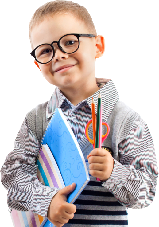 little boy holding his school materials