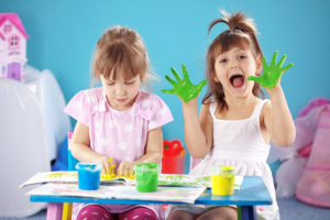 kids playing paints